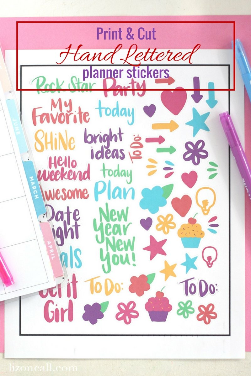 Hand lettered planner stickers print cut liz on call download these free printable hand lettered planner stickers and then use print and cut on your spiritdancerdesigns Image collections