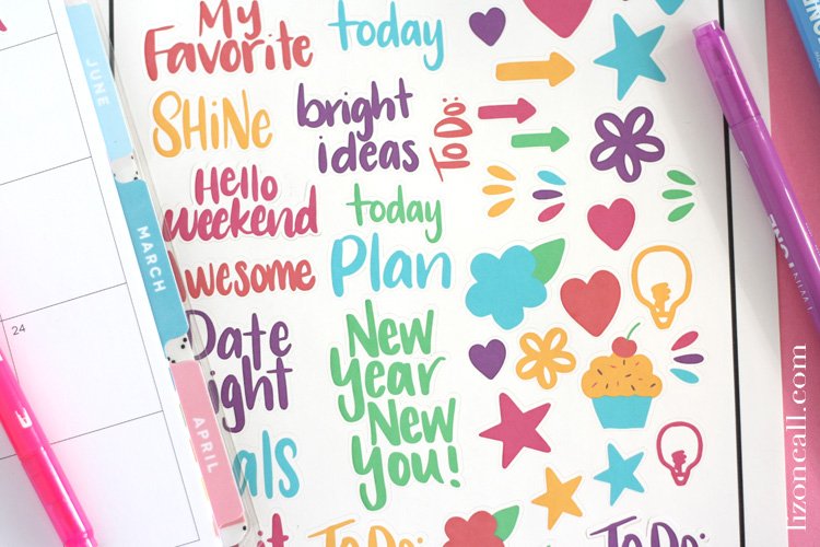 Download these free printable hand lettered planner stickers and then use print and cut on your Cricut to cut them out.