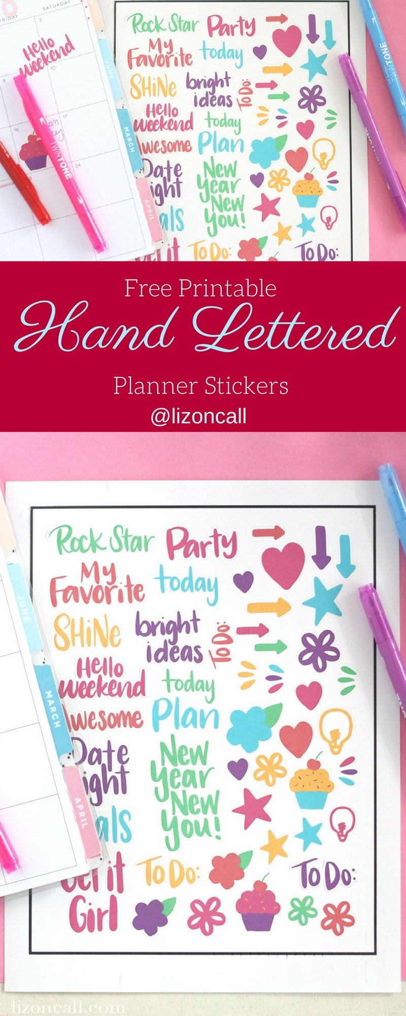 Hand Lettered Planner Stickers | Print & Cut - Liz on Call