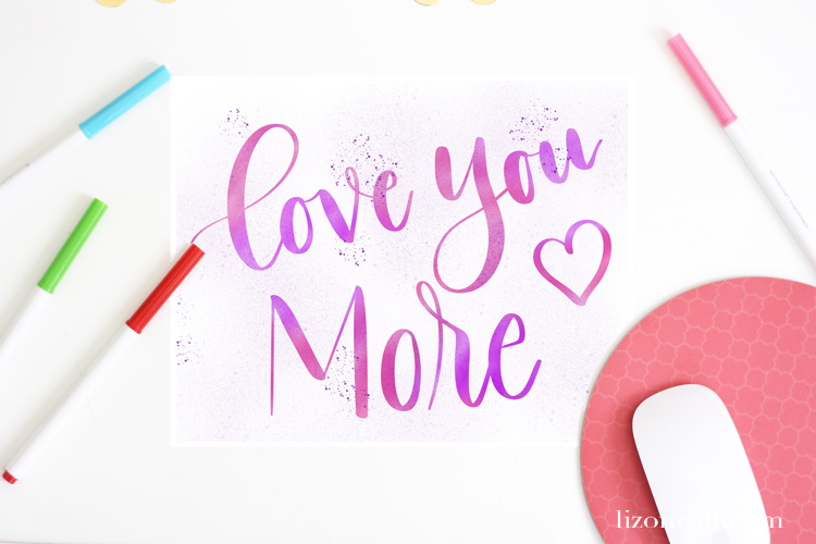 Hand Lettered Valentine's Printable - Love You More Hand Lettered Printable from Liz on Call