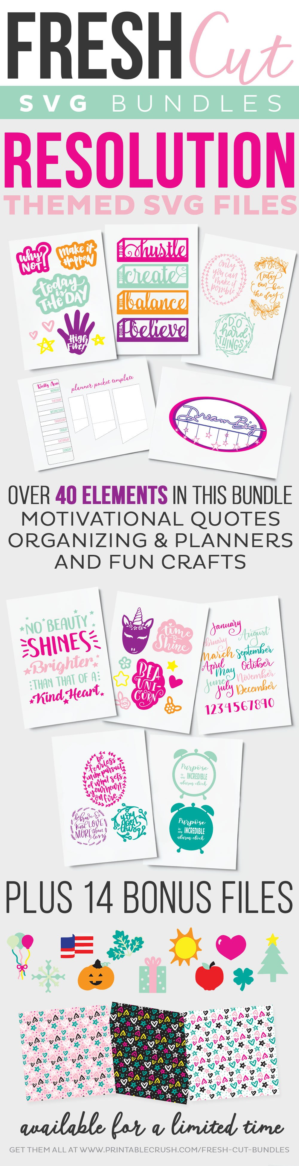 Fresh Cuts SVG Bundle - Over 40 elements and cut files for organization, planning and motivation. Only available for a limited time. #cutfiles #organization #planning #svgfiles