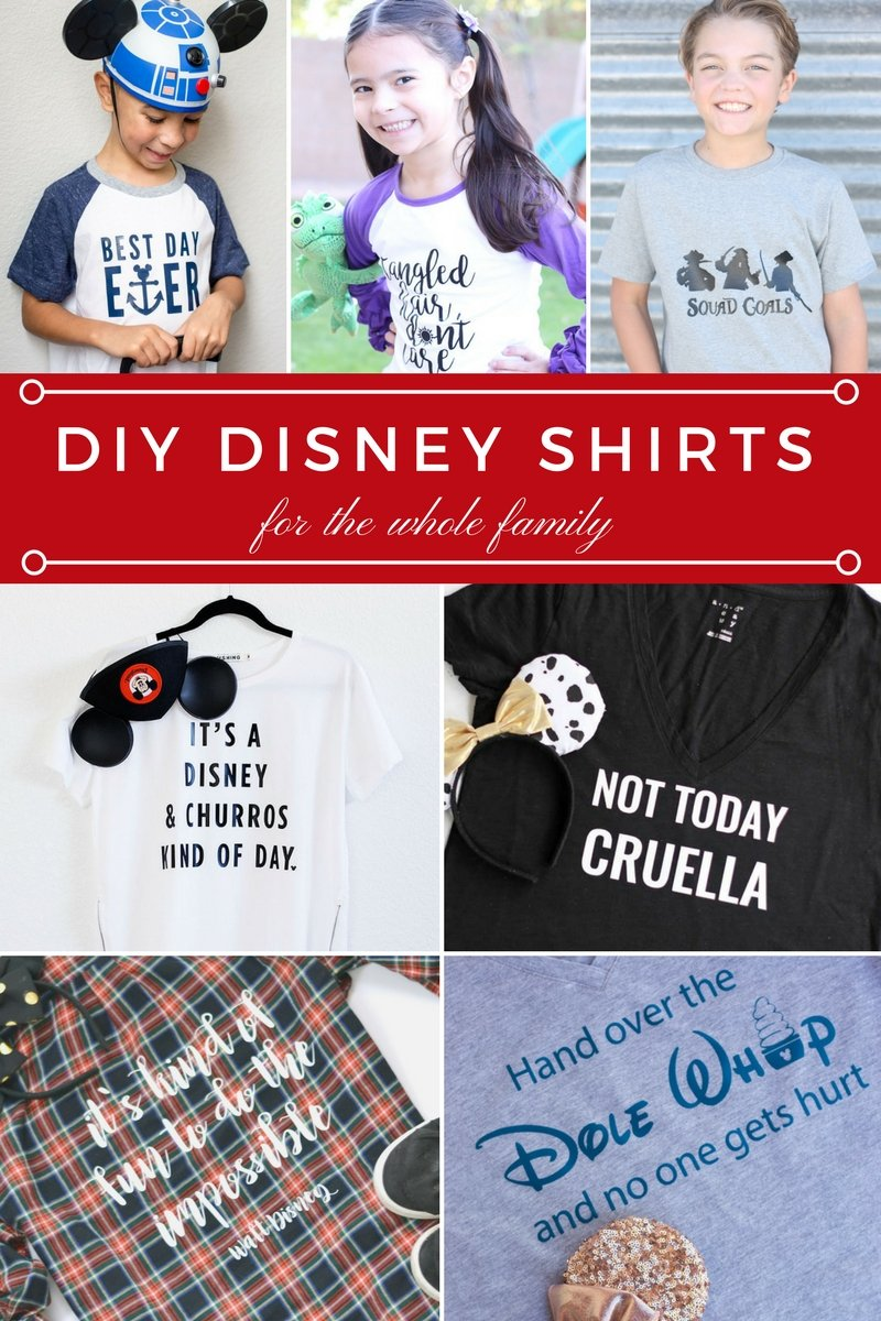 DIY Disney Shirts for the whole family. So many fun Disney shirt ideas.