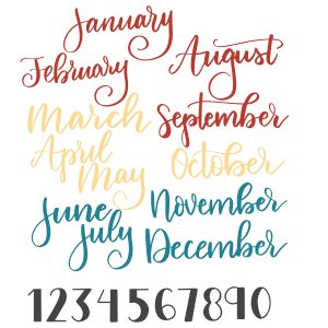 Monthly Calendar SVG Cut files available at lizoncall.com