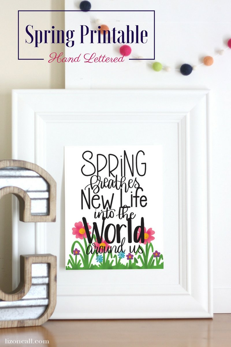 This hand lettered spring printable will brighten up any home as the temps rise and the flowers start blooming.