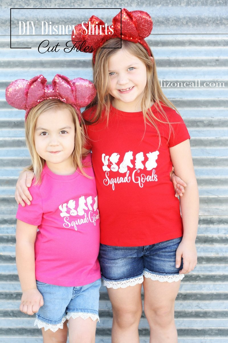 Get the free cut files to make these squad goals DIY Disney shirts. They will surely help you find your squad while at Disneyland or Disney World. #DIYDisneyshirts #Disneylandshirts #DisneyWorldshirts