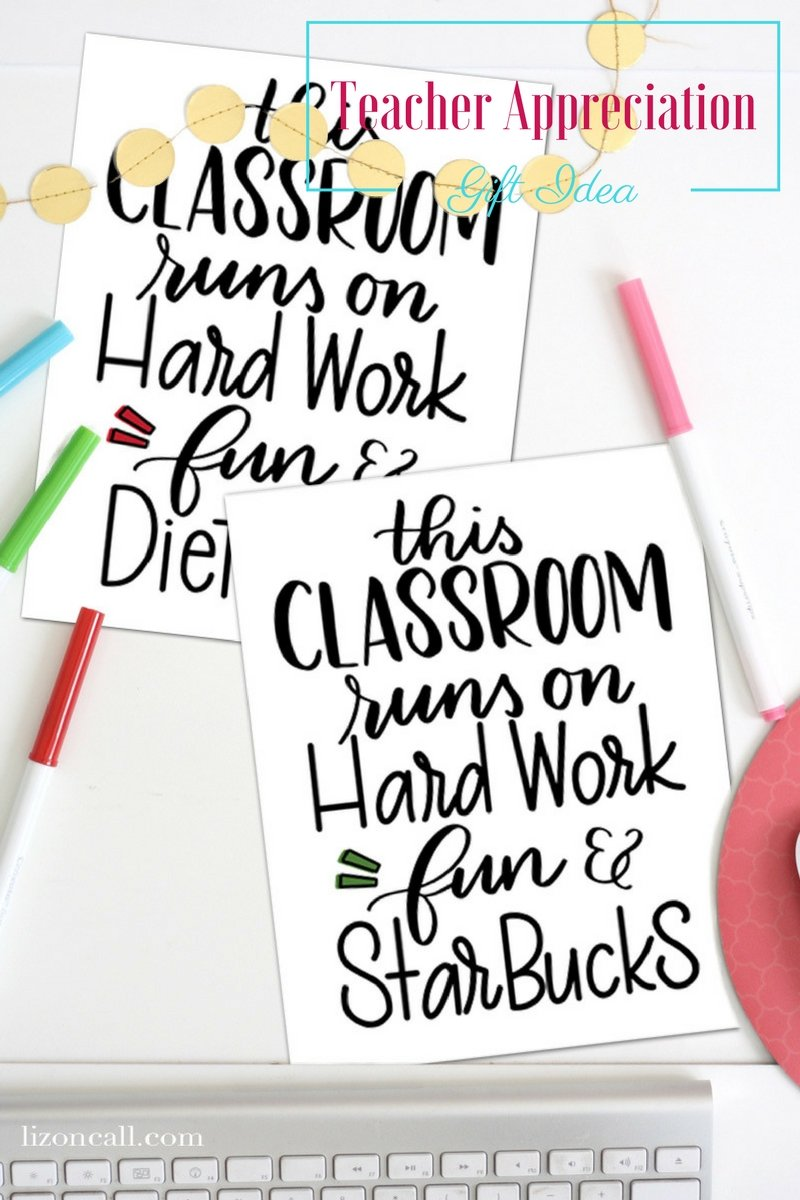 Give teachers what they want this year and send them a gift card.  Make your simple teacher appreciation gift idea into something extra special with this cute free printable. #teacherappreciation #giftidea #freeprintable