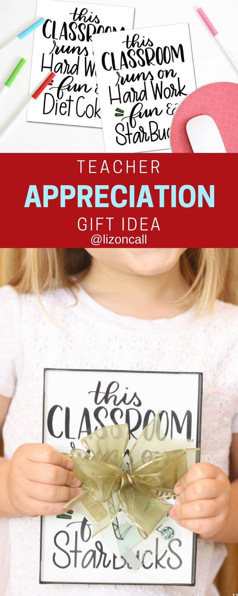Give teachers what they want this year and send them a gift card.  Make your simple teacher appreciation gift idea into something extra special with this cute free printable. #teacherappreciation #freeprintable #giftidea