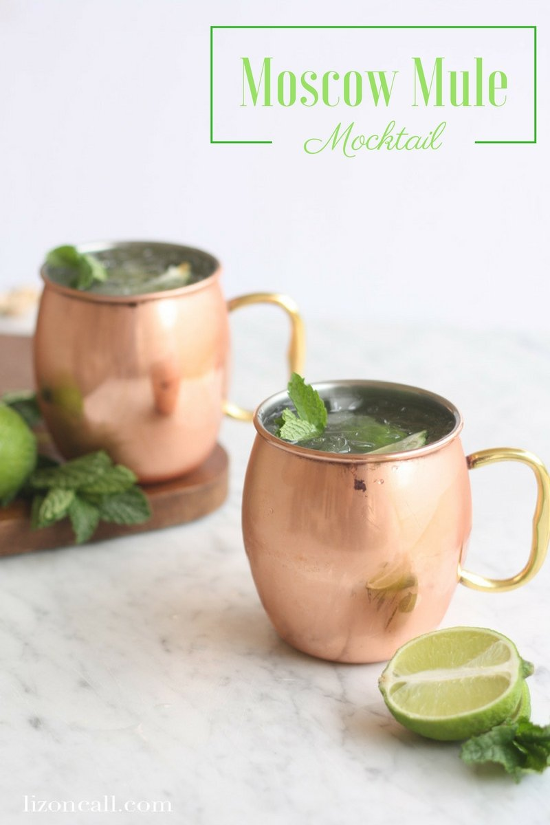 This non alcoholic moscow mule mockatil recipe is cool, crisp, refreshing and a bit spicy, with just a bite of ginger. It's the perfect mocktail to mix up any night of the week. #moscowmule #mocktail