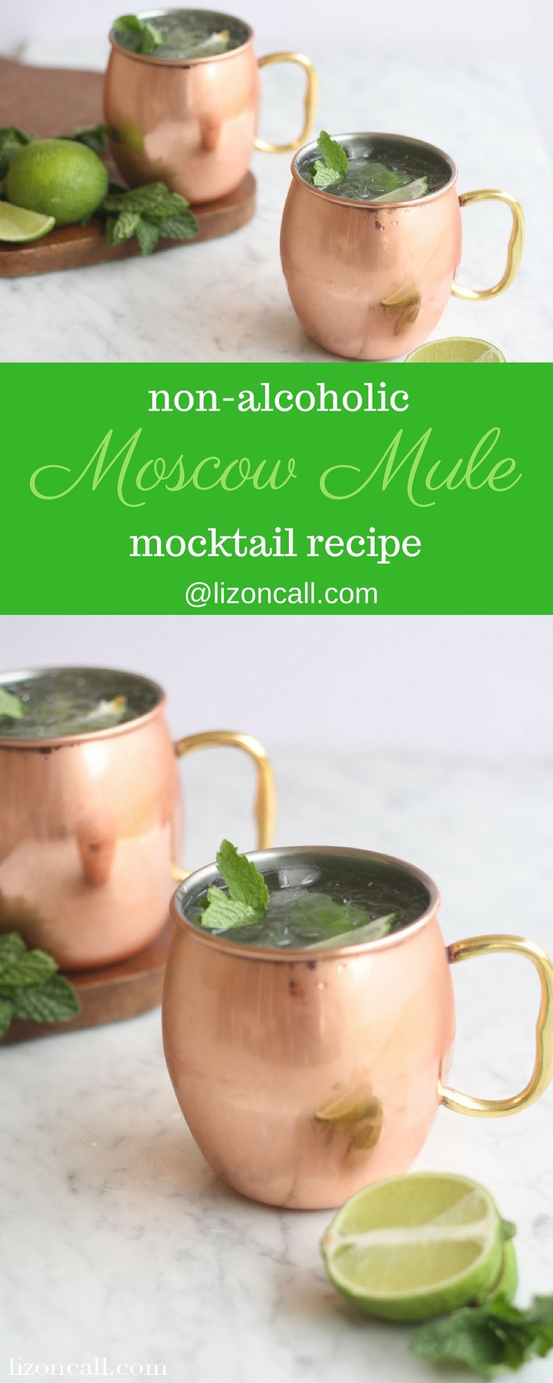 This non alcoholic moscow mule mockatil recipe is cool, crisp, refreshing and a bit spicy, with just a bite of ginger. It's the perfect mocktail to mix up any night of the week. #moscowmule #mocktail #nonalcoholicmoscowmule