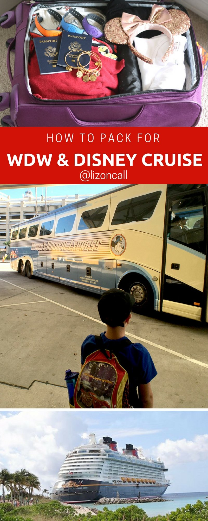 Packing for a family of 5 to spend a few days at Walt Disney World and aboard a Disney Cruise can be a little overwhelming. Here are my tips and printable packing list on how to pack for Walt Disney World and a Disney Cruise. #packinglist #waltdisneyworld #disneycruise