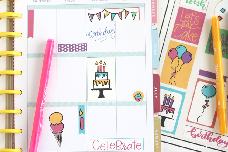 The best day of the year deserves a little extra love when laying out your planner. Add these free birthday planner stickers to your happy planner to remember to celebrate.