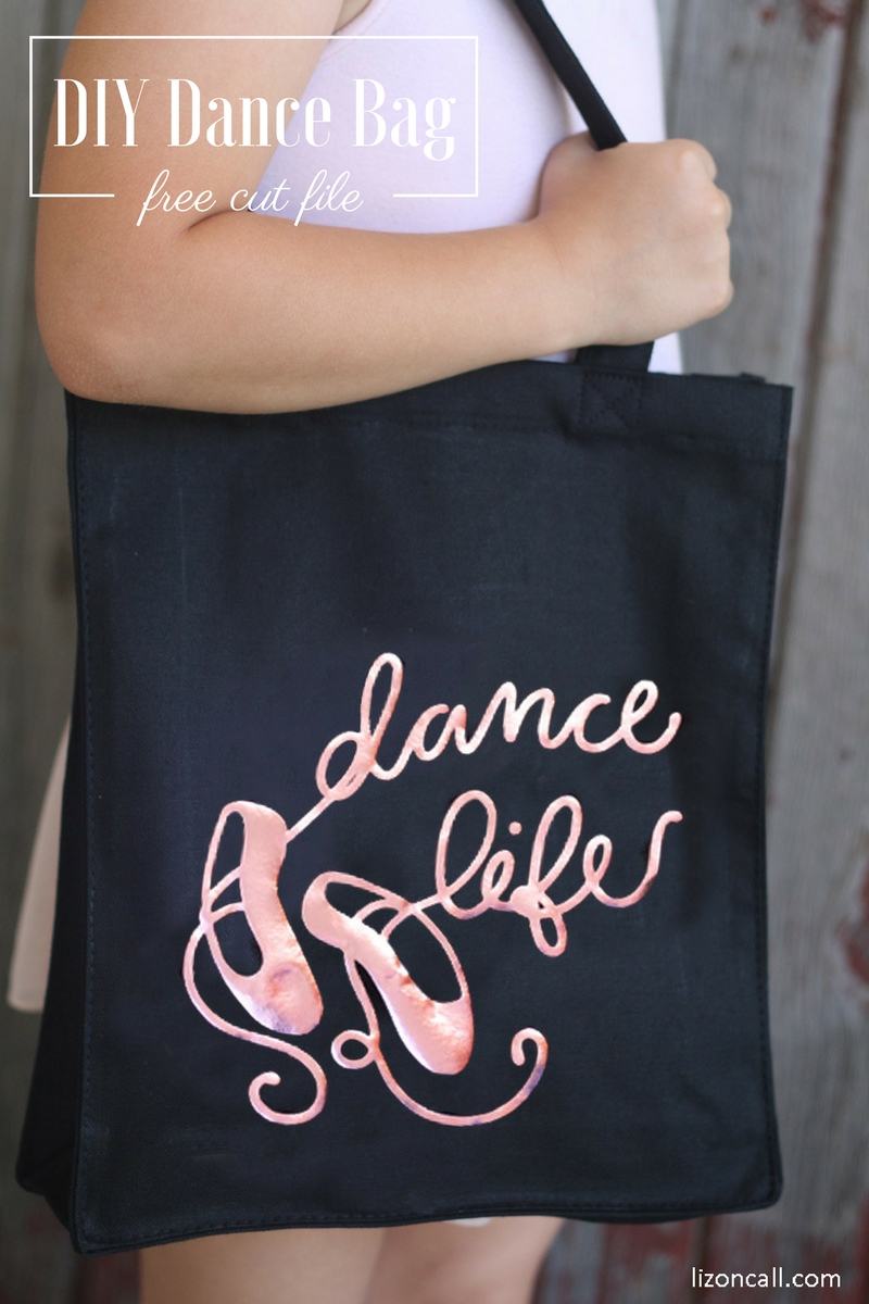 Making a cute DIY dance bag for your little dancer is super easy with this free cut file and iron on vinyl.