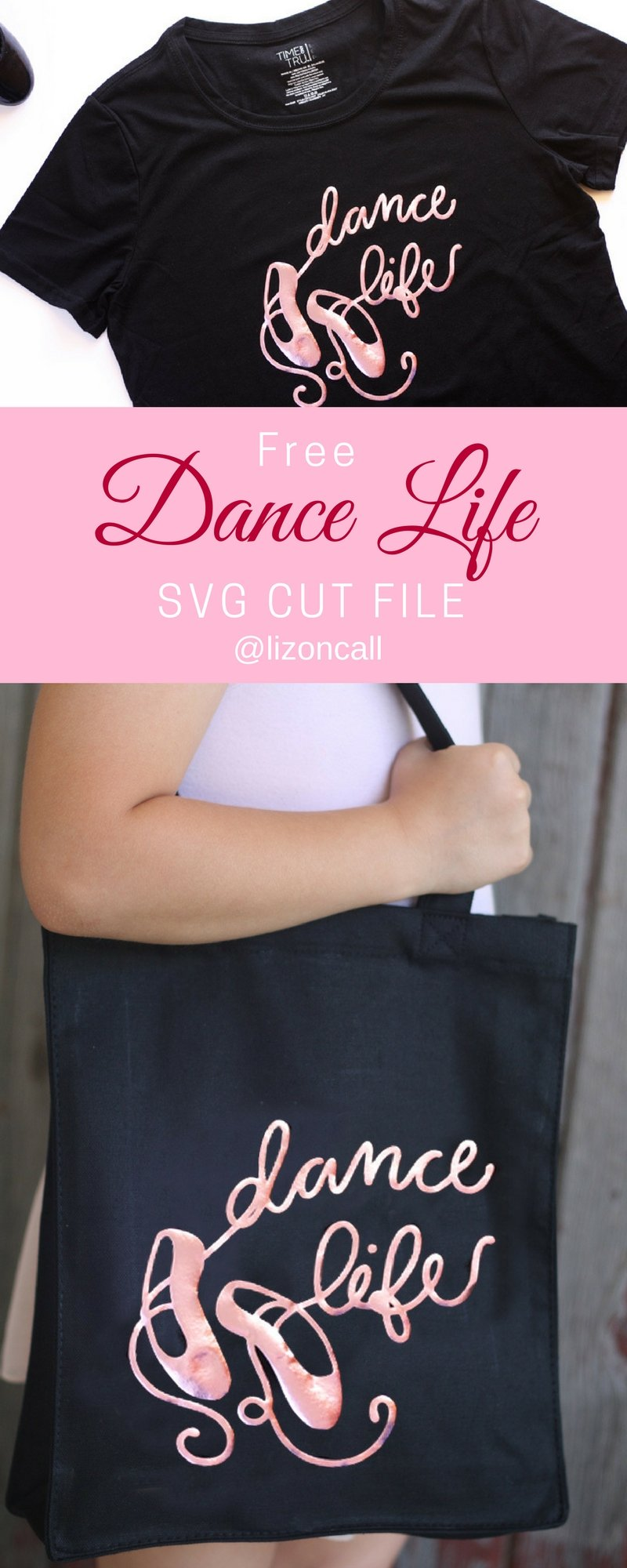 Making a cute DIY dance bag for your little dancer is super easy with this free cut file and iron on vinyl. Get the file and tutorial to make a cute bag or a fun t-shirt.
