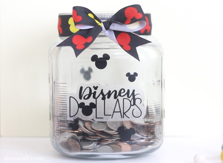 Planning a trip to the parks? Collect your loose change in a Disney Dollars Savings Jar.  Start saving for your next trip with this simple DIY.