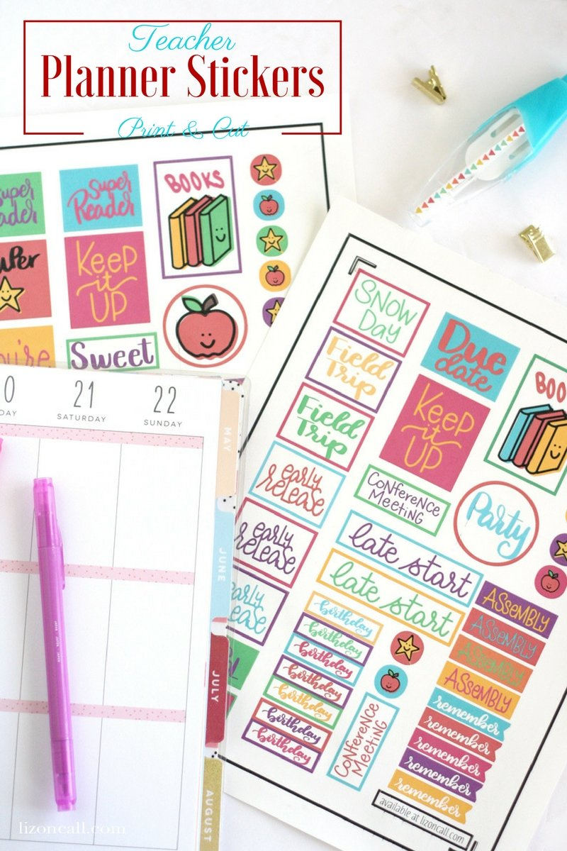 Whether you're planning your month or grading papers, these free teacher planner stickers will be a fun addition to any paper. Cutting them out is easy with the print and cut feature of your Cricut. #teacher #plannerstickers #printandcut