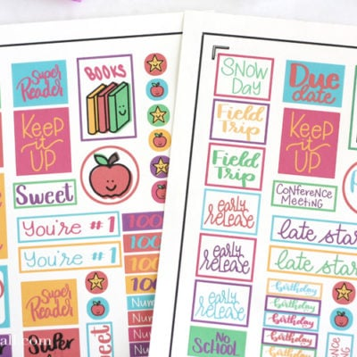Free Teacher Planner Stickers Print and Cut