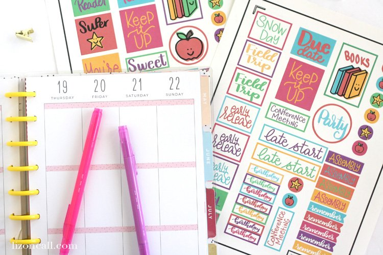 Whether you're planning your month or grading papers, these free teacher planner stickers will be a fun addition to any paper. Cutting them out is easy with the print and cut feature of your Cricut. #teacher #plannerstickers