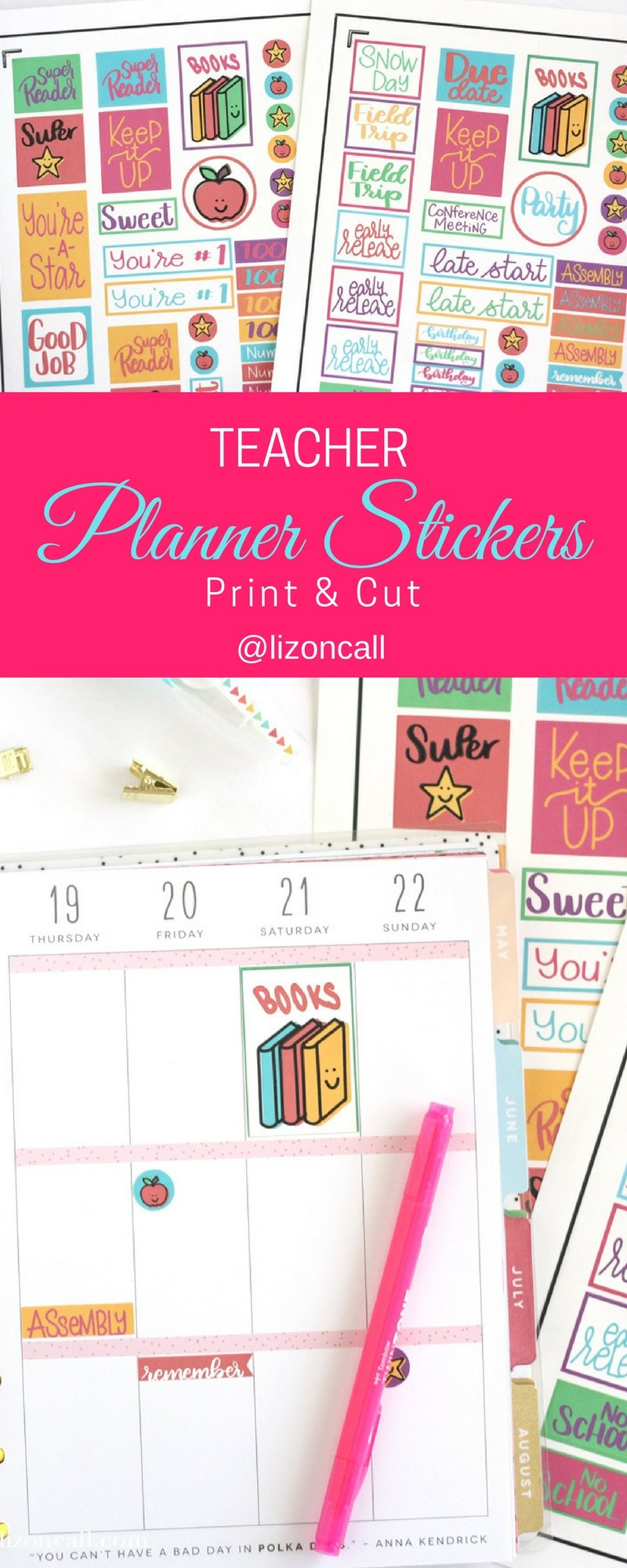 Whether you're planning your month or grading papers, these free teacher planner stickers will be a fun addition to any paper. Cutting them out is easy with the print and cut feature of your Cricut. #plannerstickers #teacher #printandcut