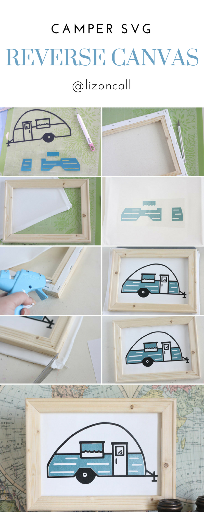Summer time for us means trips up to the mountains to do some camping. I'm sharing our love of the outdoors with this fun camper life reverse canvas tutorial.