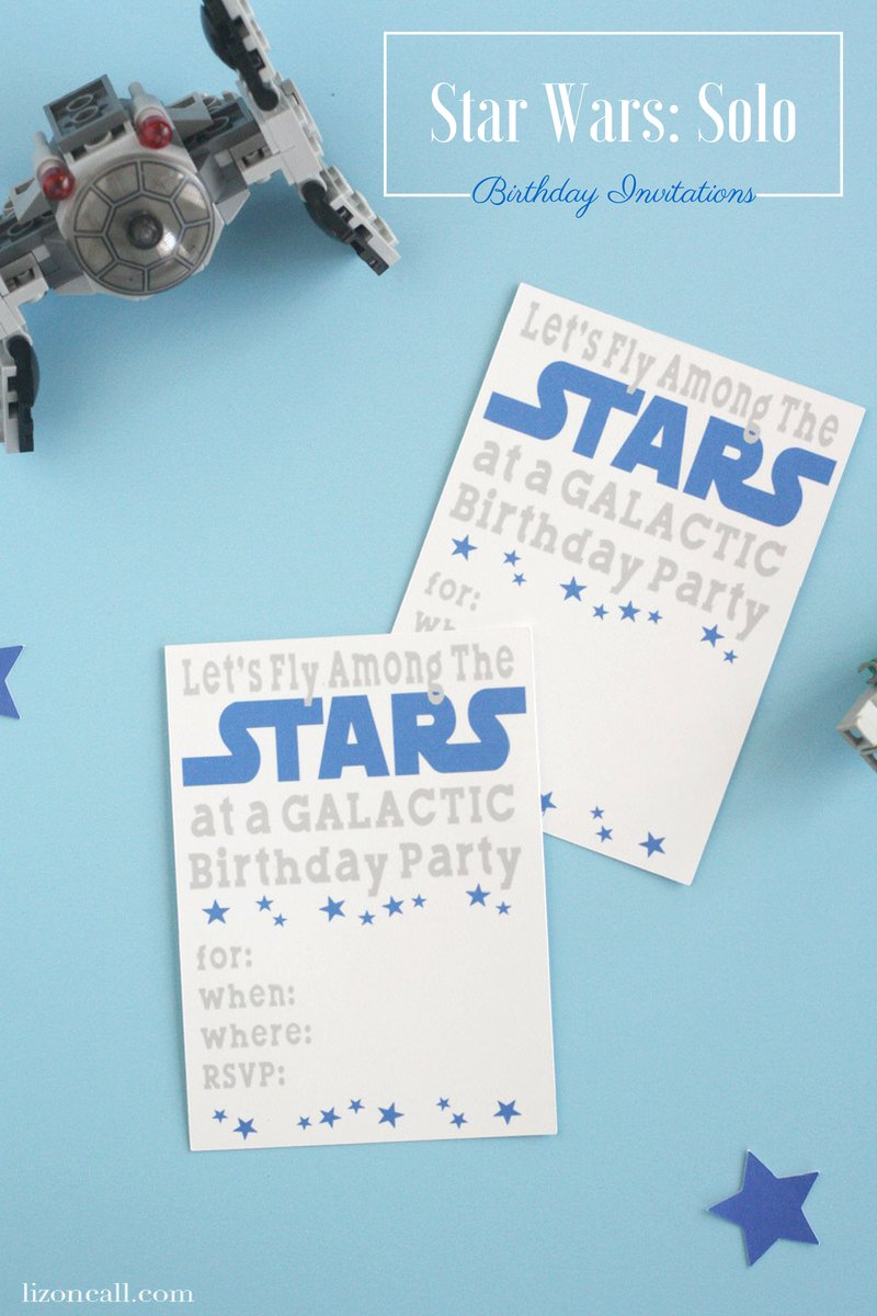 Let all the Jedi know about the Galactic birthday party with these Solo inspired Star Wars birthday party invitations. They are super easy to make using the print and cut feature of your Cricut cutting machine. #starwars #birthdaypartyinvitations