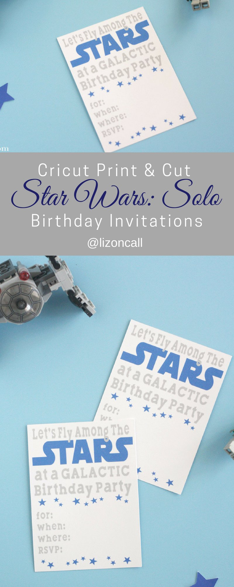 Let all the Jedi know about the Galactic birthday party with these Solo inspired Star Wars birthday party invitations. They are super easy to make using the print and cut feature of your Cricut cutting machine. #starwars #birthdayparty