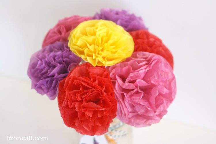 DIY Tissue Paper Flower Tutorial Teacher Appreciation - Liz on Call