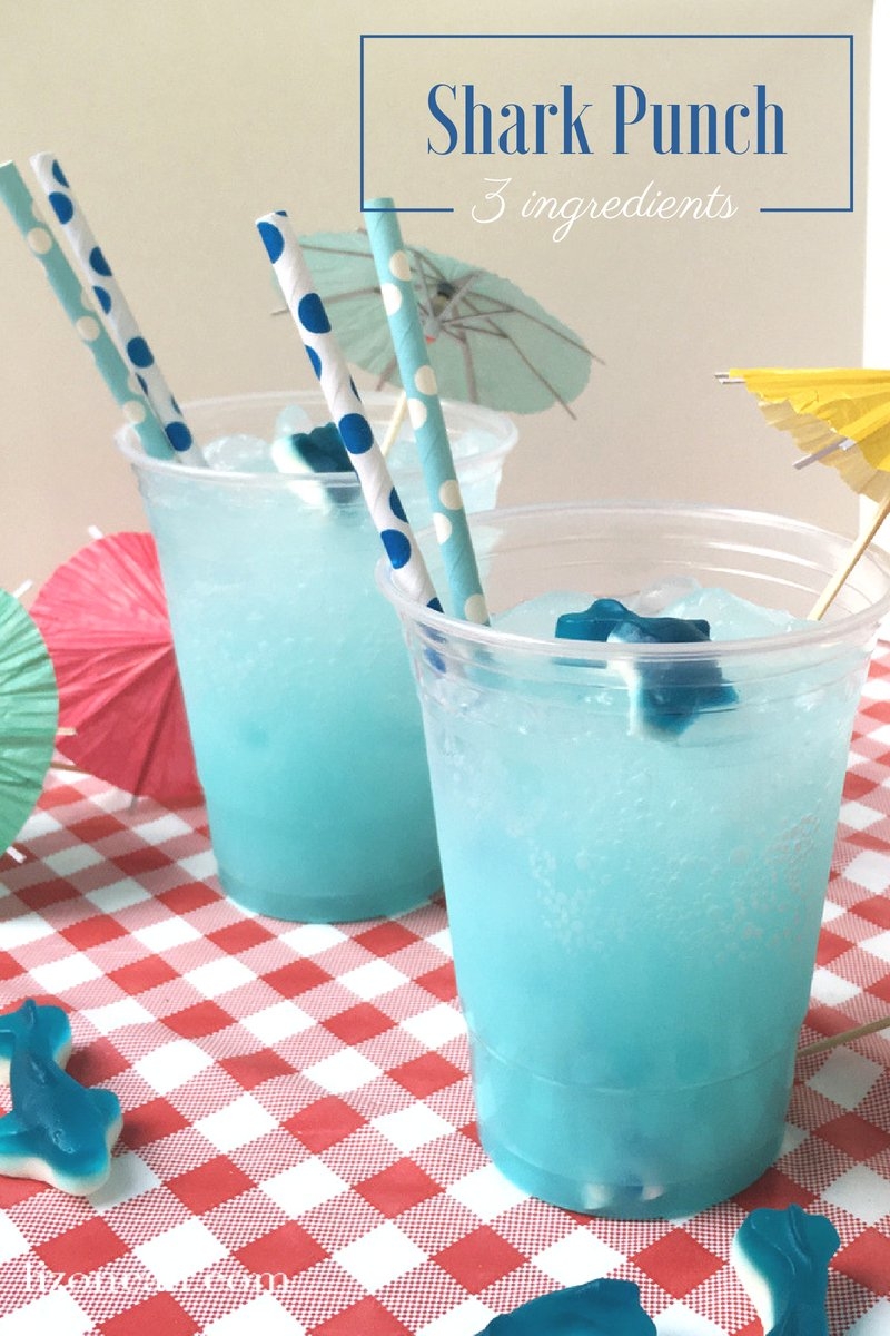 Make your shark week viewing parties extra fun with this easy shark party punch.  Guests of all ages will love sipping on this easy party punch recipe perfect for shark week or a hot summer day. #sharkpunch #partypunch