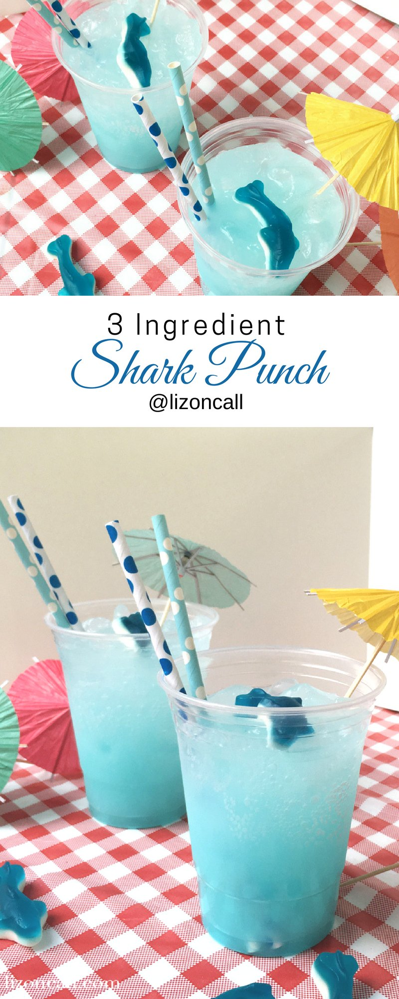 Make your shark week viewing parties extra fun with this easy shark party punch.  Guests of all ages will love sipping on this easy party punch recipe perfect for shark week or a hot summer day. #sharkpunch #partypunch #easypartypunchrecipe