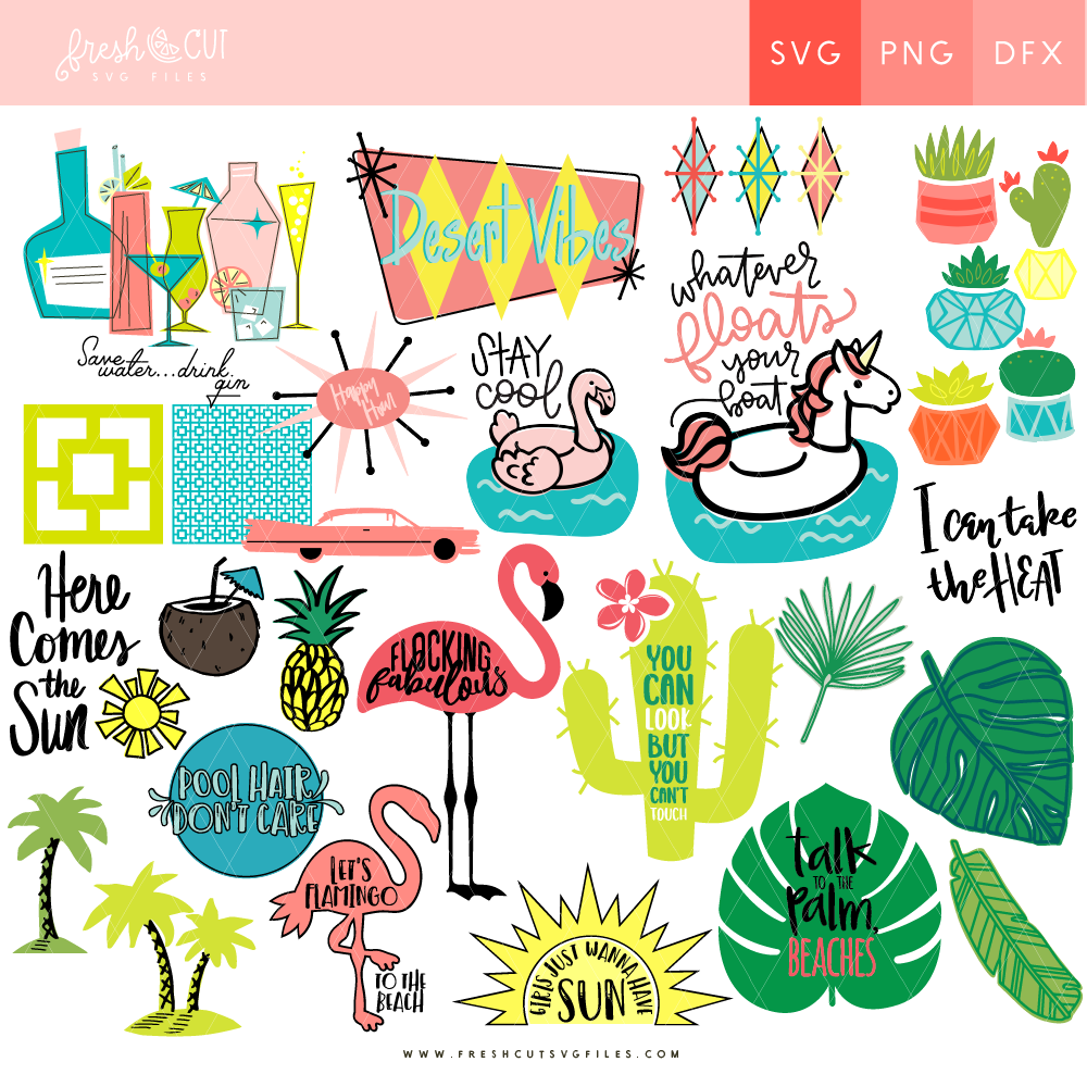Palm Spring SVG Cut Files. Cut File Bundle from Fresh Cuts