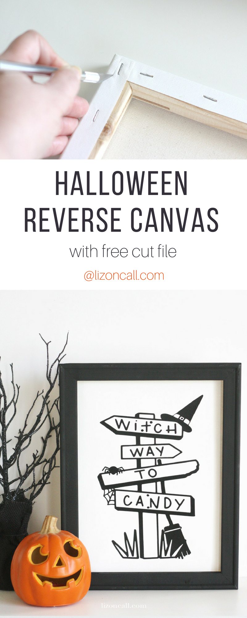This Halloween Reverse Canvas is a super easy and quick home decor project to spook up your mantel for the holiday.