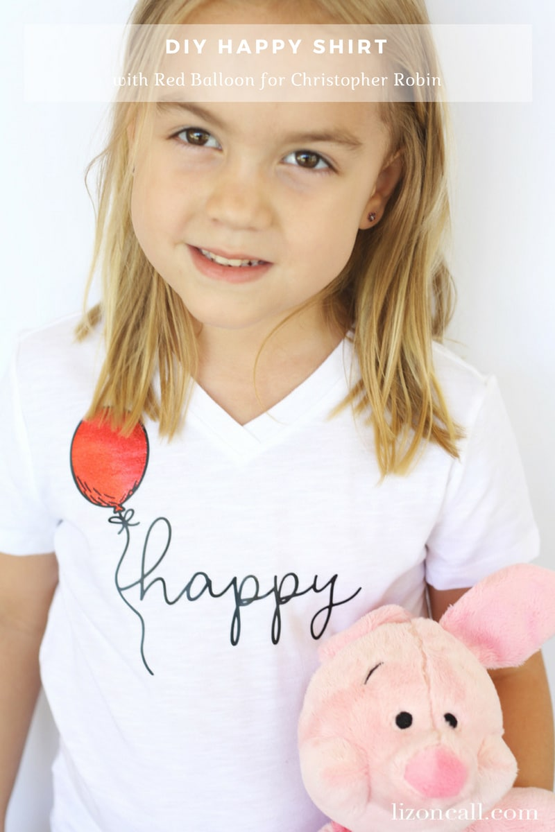 Everyone can use a dose of happy! This DIY happy shirt with the red balloon will be perfect for your favorite Winnie the Pooh fans. Read a review of the Christopher Robin Movie and get the tutorial on how to make this DIY Happy Shirt.
