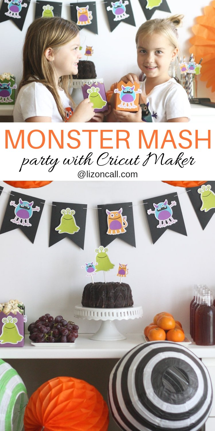 Creating a bright and colorful table and backdrop for a party is easy when you use your Cricut Maker. Create a fun and festive Monster Mash Halloween Party the whole family will love. #cricutmade #monstermash #halloweenparty #handmadehalloween