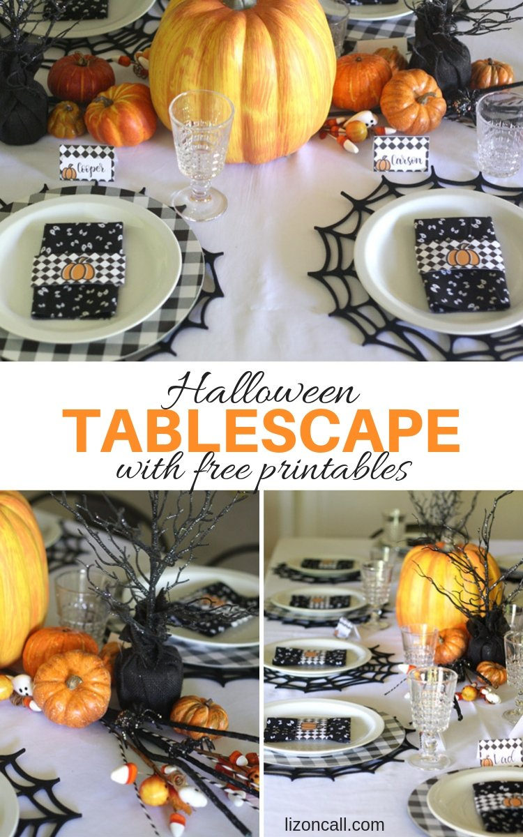 Grab the free printables and create a spooky vibe at your Halloween party with this Easy Halloween Tablescape.#halloweentablescape #halloweentabledecor