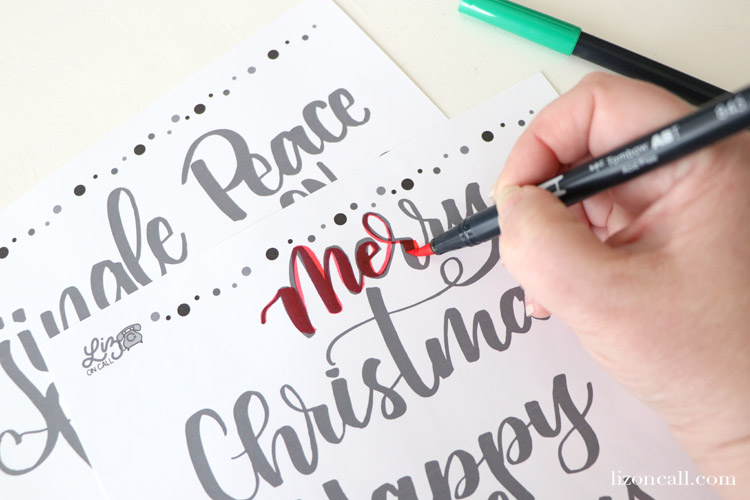 Add a hand lettered touch to your holiday cards this year with these Christmas Phrases Hand Lettering Practice Sheets. Christmas phrases and designs to fit any holiday tablescape, decor or card.
