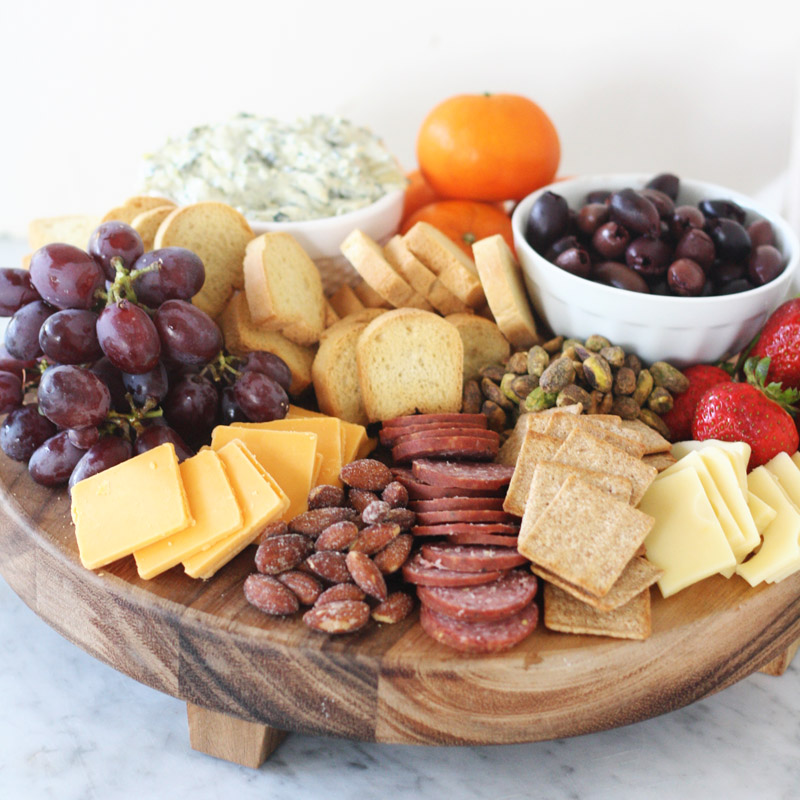Create a beautiful charcuterie board with all of your favorite things.