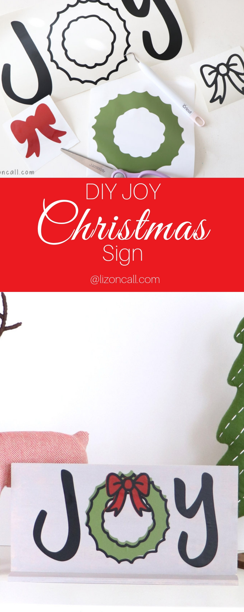 This DIY Christmas sign would make a great last minute Christmas gift or Christmas decoration for your home. #christmassign #joy