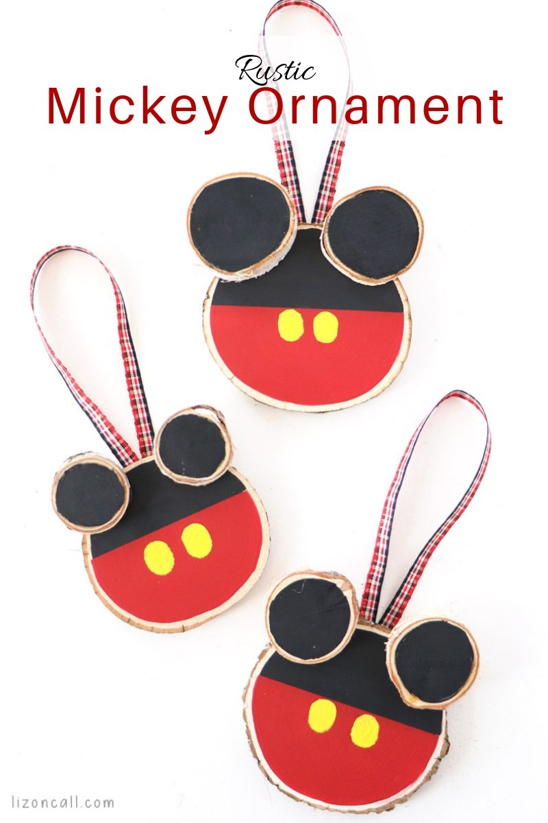 Decorate your Christmas tree to feel like you're at the parks with this Rustic DIY Mickey Mouse Ornament. #mickeyornament #diymickeymouseornament