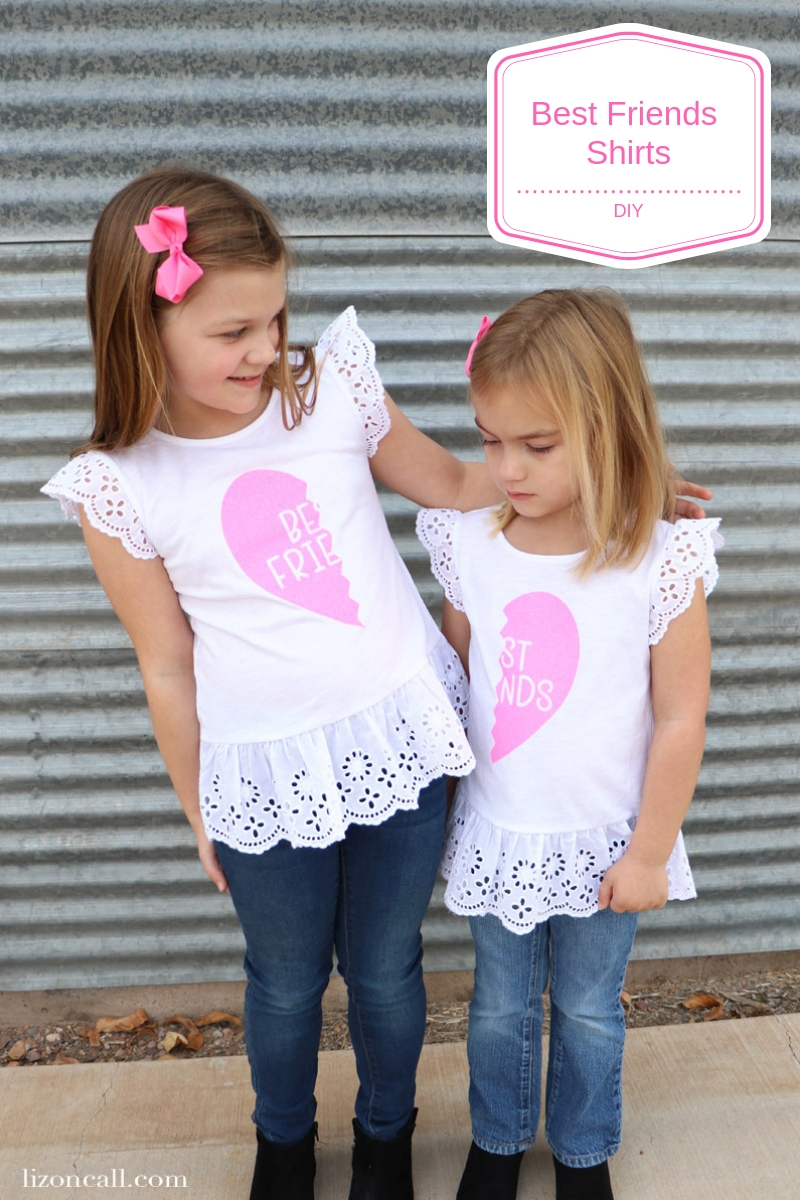 Make these DIY Best Friends Shirts for you and your bestie for a perfect Galantine's Day present. They are also super fun and cute for daughters or sisters. #diyshirt #bestfriends