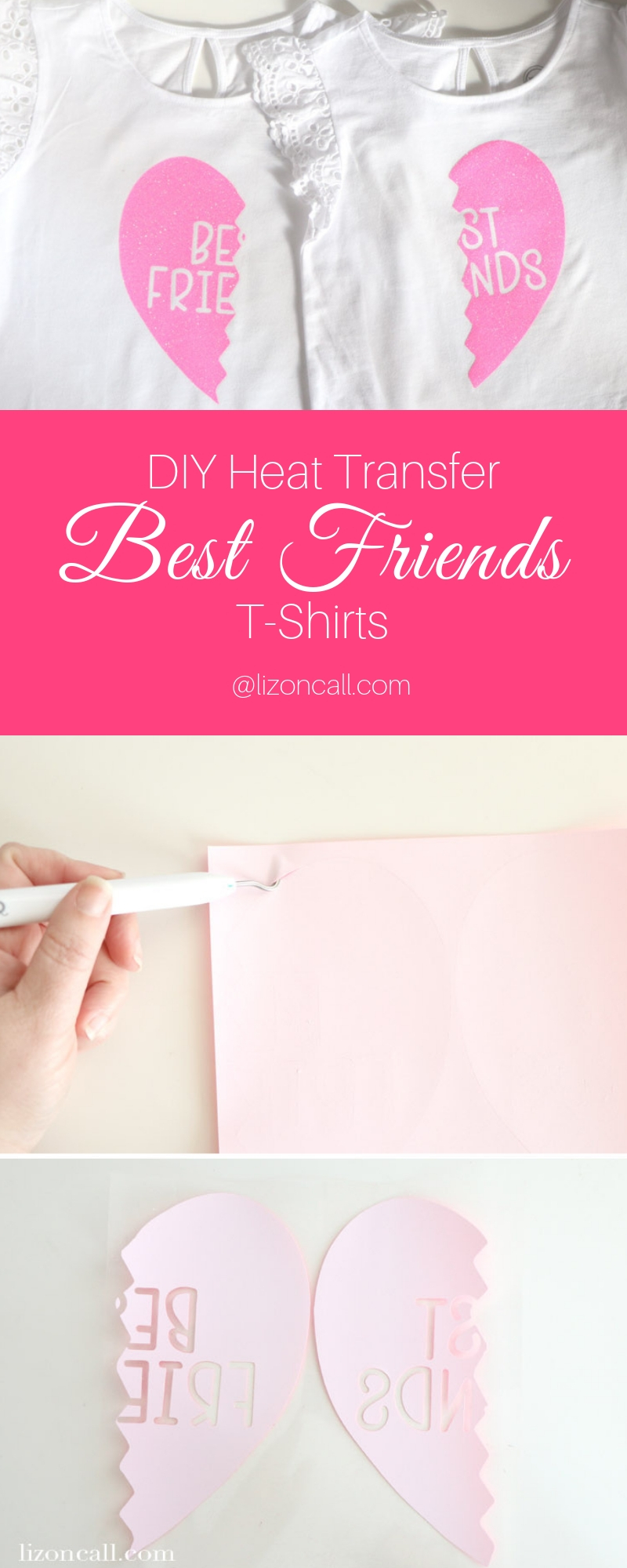 Make these DIY Best Friends Shirts for you and your bestie for a perfect Galantine's Day present. They are also super fun and cute for daughters or sisters.