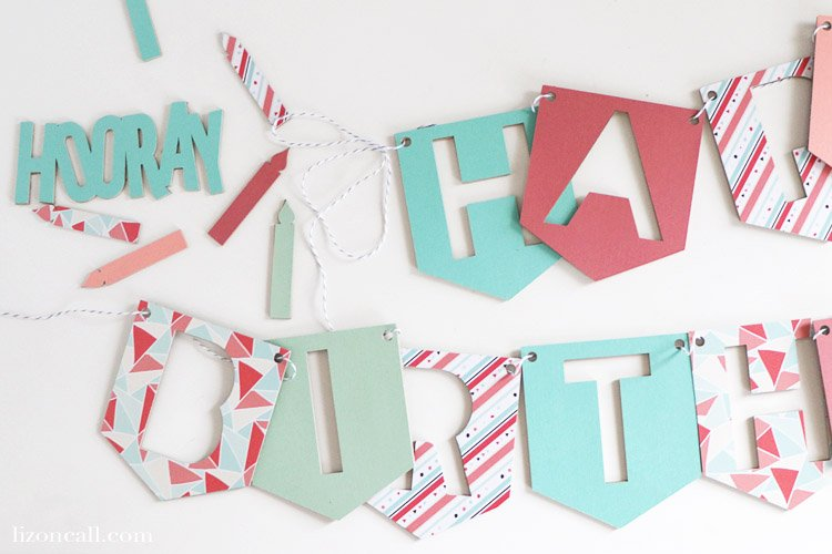 Create a custom DIY Birthday Banner using chipboard and paper with the Cricut Maker. This birthday banner is durable enough that it can be used again and again. #cricutmade #cricutbirthday