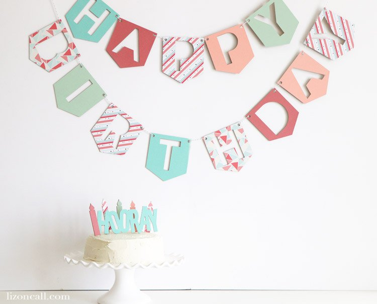 Create a custom DIY Birthday Banner using chipboard and paper with the Cricut Maker. This birthday banner is durable enough that it can be used again and again. #cricutmade #cricutbirthday #diybirthday