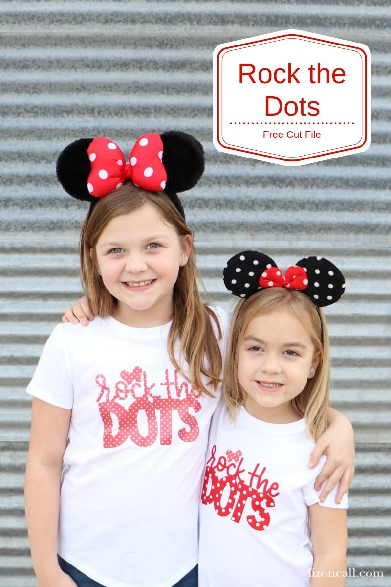 Show your love of polka dots and the original polka dot princess, with this Disney inspired DIY Minnie Rock The Dots Shirt. Get the free cut file. #rockthedots #diydisney
