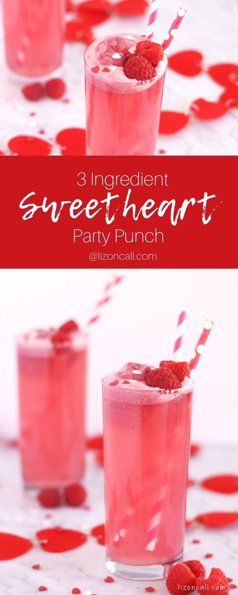 titled image showing glasses of rasberry pink party punch garnished with rasberries and sprinkles