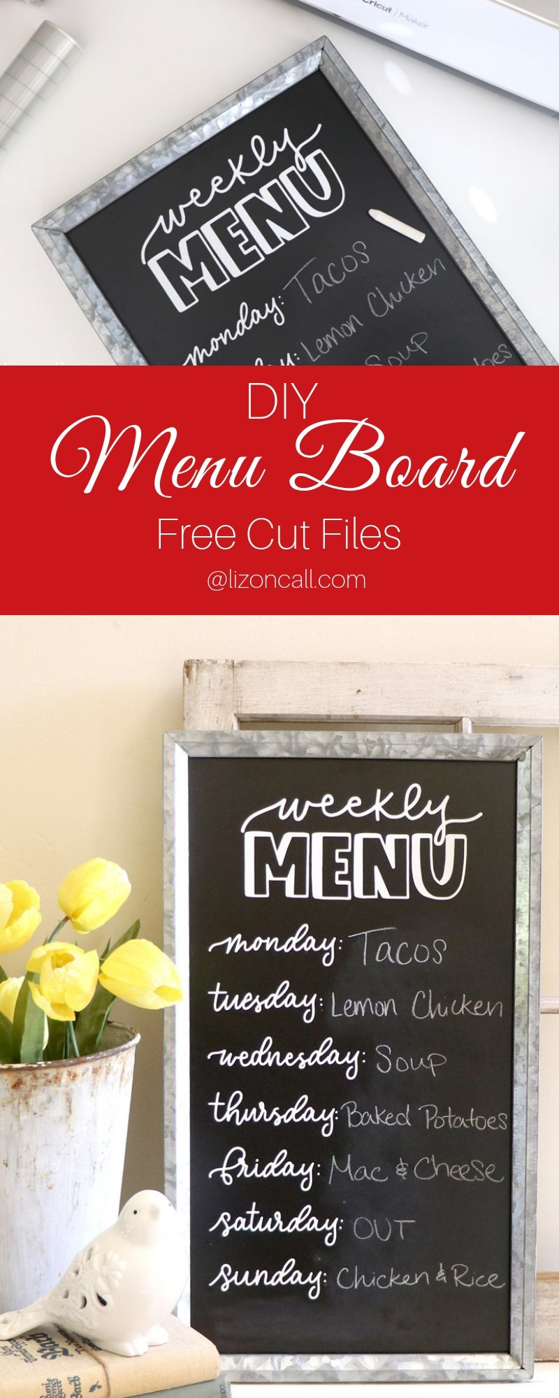 Make dinner time less of a challenge everyday with the help of this DIY Weekly Menu Board.No more wondering what's for dinner at 5:00 in the evening.