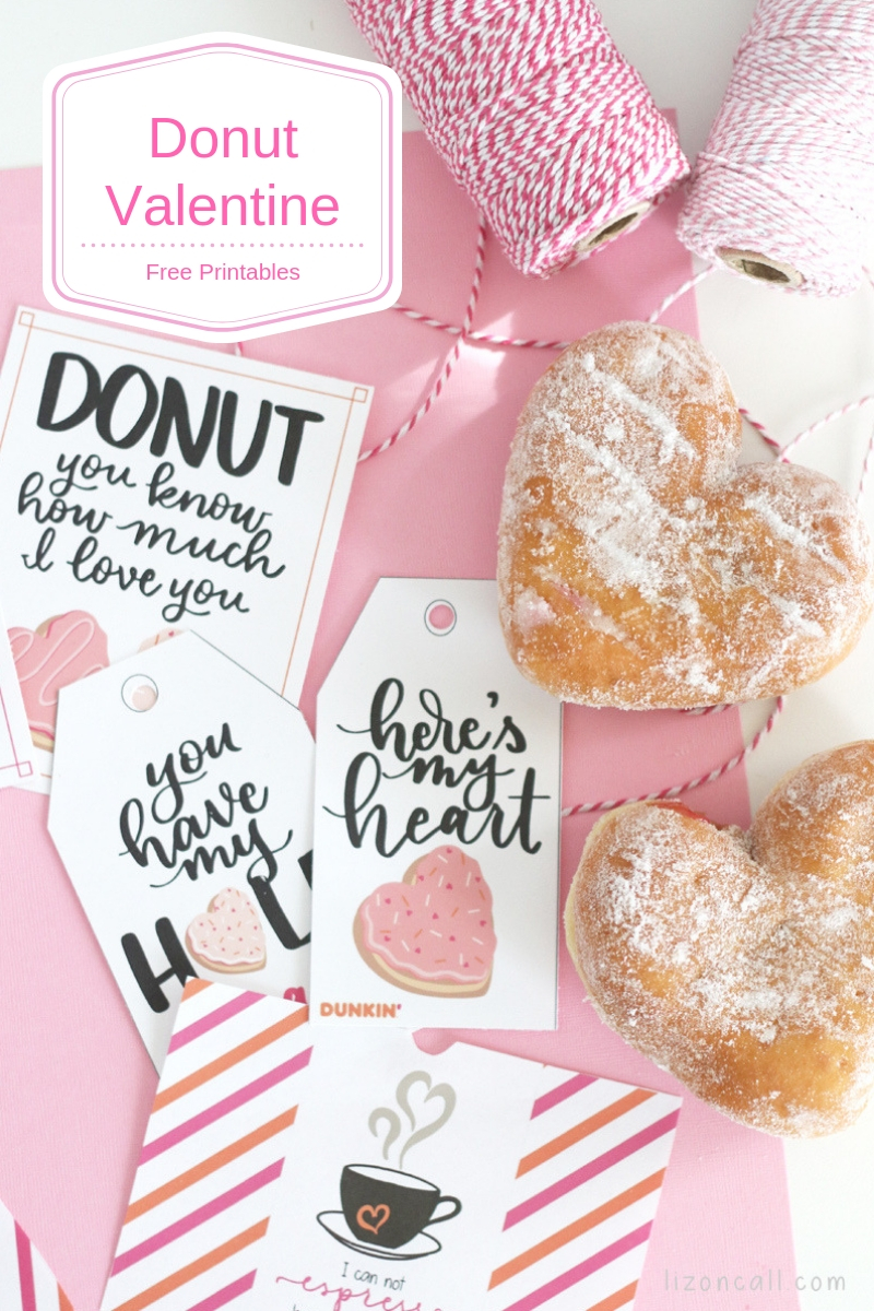 2 heart shaped donuts with donut themed printables for Valentine's Day
