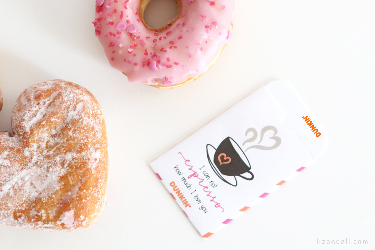 Dunkin' Donuts gift card in a printable gift card holder for Valentine's Day