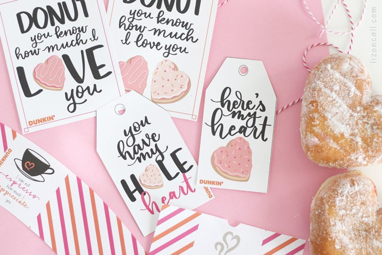 Donut Valentine's Printables next to heart shaped donuts
