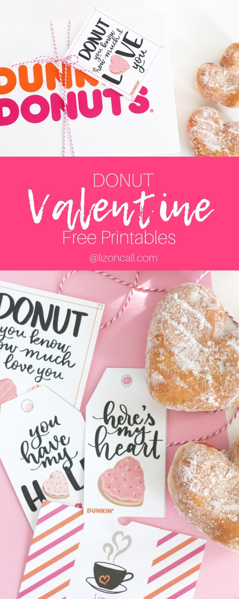 Donut Valentine printables, heart shaped donuts, donut tag tied to a box of donuts.