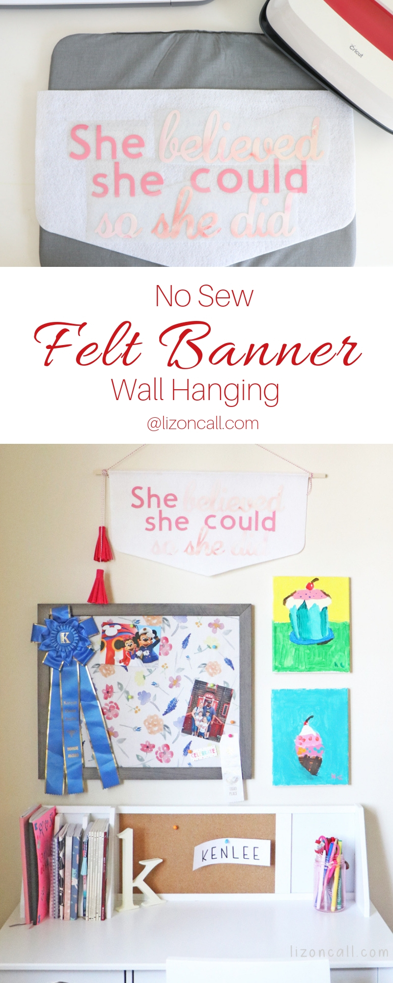 Add some cute inspirational decor to a daughter's room. Make this No Sew Felt Banner Wall Hanging using a Cricut Maker and Cricut EasyPress 2.