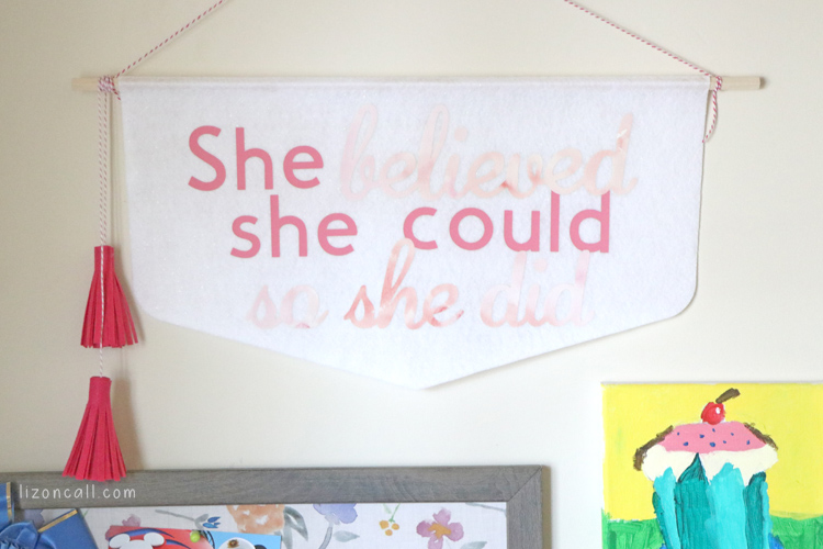 Added some cute decor to my daughter's room.  I made this No Sew Felt Banner Wall Hanging using my Cricut Maker and Cricut EasyPress 2.